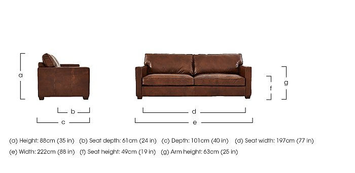 Fulham Broadway 3 Seater Leather Sofa - Only One Left! in  on Furniture Village