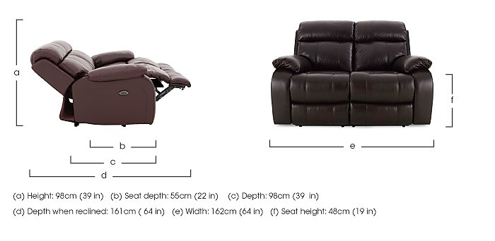 Moreno II 2 Seater Leather Recliner Sofa - Only One Left! in  on Furniture Village
