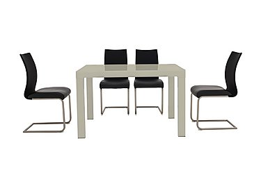 Glide Table and 4 Chairs in Taupe Table And Black Chairs on Furniture Village
