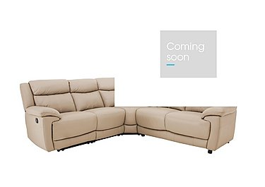 Touch Leather Recliner Corner Sofa in Bv-862c Bisque on Furniture Village