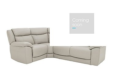 Bounce Compact Leather Recliner Corner Sofa in Bv-946b Silver Grey on Furniture Village