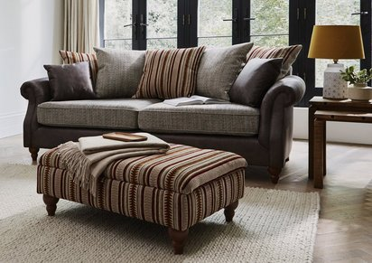 Chinook Fabric Seat 3 Seater Pillow Back Sofa - Furniture