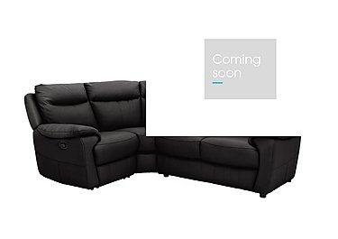 Touch Compact Leather Recliner Corner Sofa in Bv-3500 Classic Black on Furniture Village
