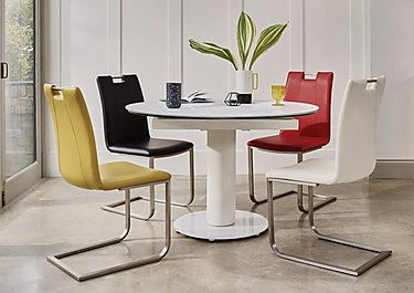 Bubble Round Extending Table White and 4 Grande Chairs in  on Furniture Village