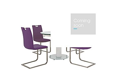 Bubble Round Extending Table White and 4 Grande Chairs in Aubergine on Furniture Village