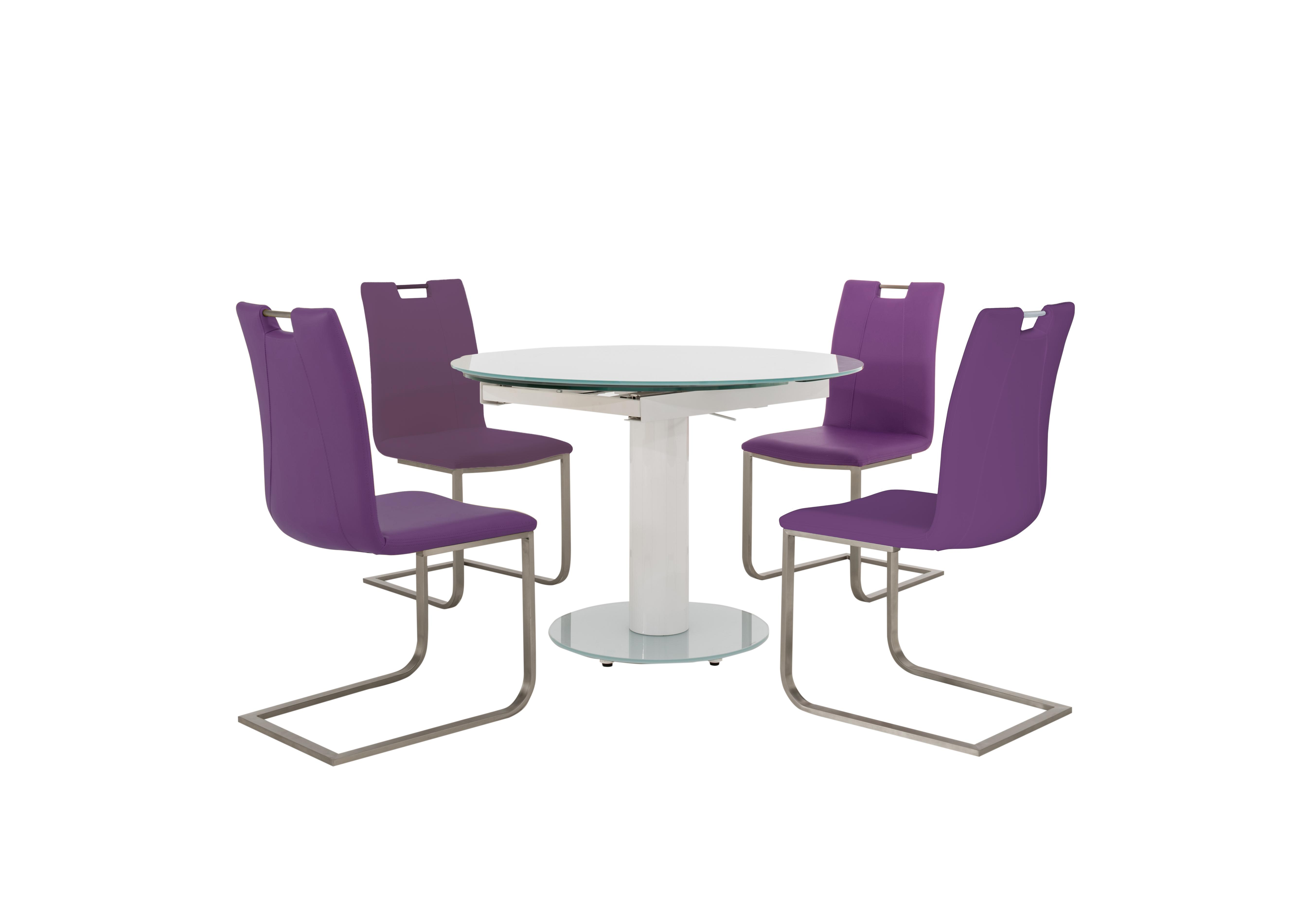 Charmant Bubble Round Extending Table White And 4 Grande Chairs In Aubergine On  Furniture Village