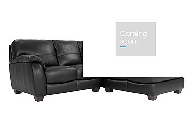 Moods Corner Leather Chaise - Only One Left! in An-671b Black on Furniture Village