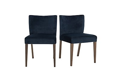 Havana Pair of Velvet Dining Chairs in Dark Blue on Furniture Village