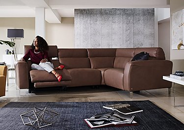 Lusso Leather Power Recliner Corner Sofa with Power Headrests in  on Furniture Village