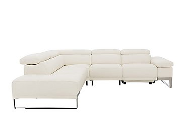 Azione Leather Power Recliner Corner Chaise Sofa with Ratchet Headrests in Torello Bianco Ottico C on Furniture Village
