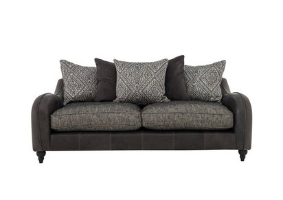 Cherokee Leather and Fabric Mix Scatter Back 4 Seater Sofa ...