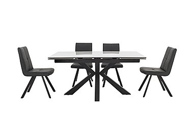 Phoenix Dining Table and 4 Dining Chairs in Dark Grey on Furniture Village