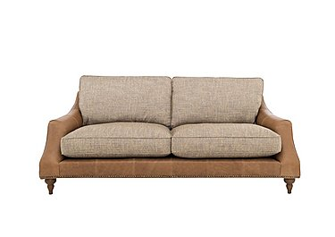 Apache 4 Seater Leather and Fabric Mix Classic Back Sofa in Lustre Cappucino & Tan Lt Col2 on Furniture Village