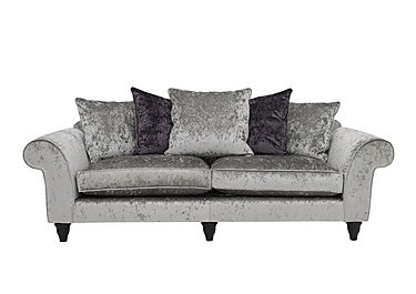 Wellington Glamour 4 Seater Split Pillow Back Sofa in Glitz Ice on Furniture Village