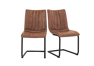 Ranger Pair of Cantilever Dining Chairs in Brown on Furniture Village