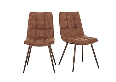 Walker Pair of Dining Chairs in Brown Faux Leather on Furniture Village