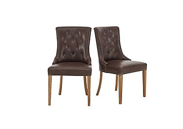Pattern Pair of Scoop Dining Chairs in Oak Legs / Espresso Faux Lthr on Furniture Village