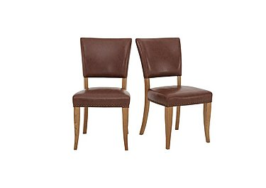 Pattern Pair of Dining Chairs in Oak Legs / Tan Faux Leather on Furniture Village