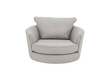Seasons Fabric Snuggler Swivel Chair in Barley Silver - Dark Feet on Furniture Village