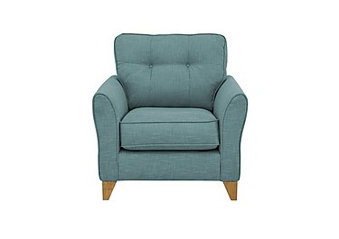 Nelson Fabric Armchair in Avichi Ocean Light Feet on Furniture Village