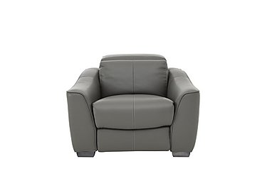 Xavier Leather Power Recliner Armchair with Power Headrest in Nc-088e Charcoal Gray on Furniture Village