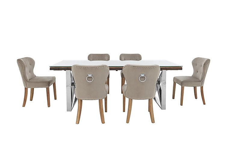 Chennai Dining Table With X Shaped Legs And 6 Upholstered