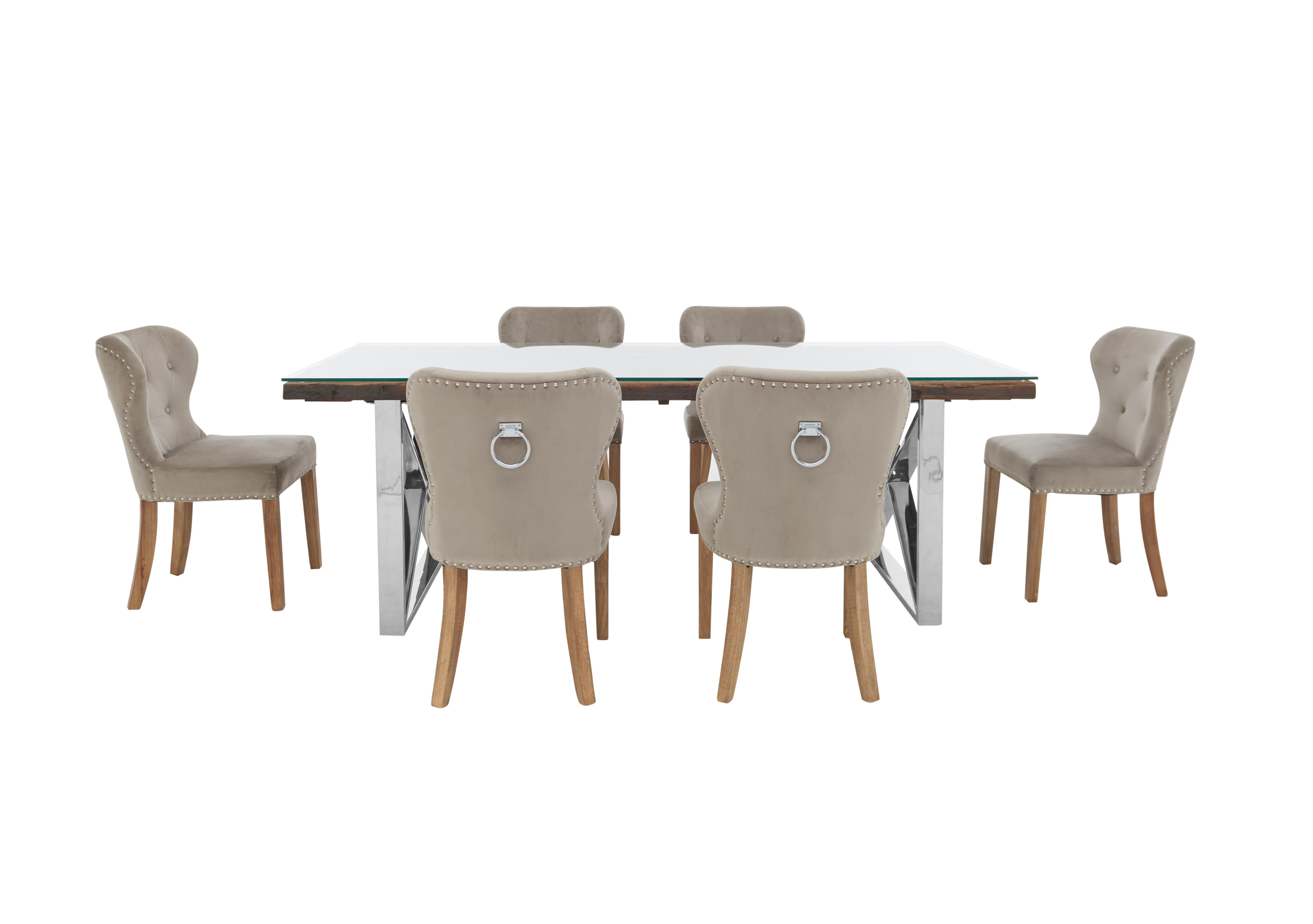 Picture of: Chennai Dining Table With X Shaped Legs And 6 Upholstered Dining Chairs Furniture Village