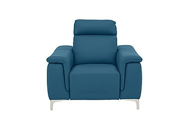 Ginosa Leather Power Recliner Armchair with Power Headrest in 1596 Dali Oceano on Furniture Village