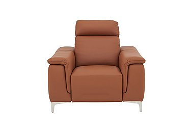 Ginosa Leather Power Recliner Armchair with Power Headrest in 363 Torello Cognac on Furniture Village