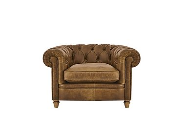 New England Newport Leather Armchair in Voyage Cappucino Woak Cpstd on Furniture Village
