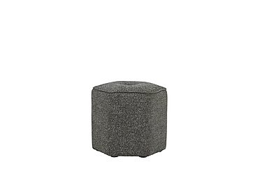 Connection Fabric Large Hex Footstool in Ealing Charcoal Dark Feet on Furniture Village