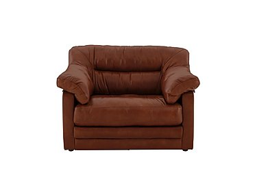 Mellow Classic Back Leather Standard Armchair in Imperial Caramel on Furniture Village