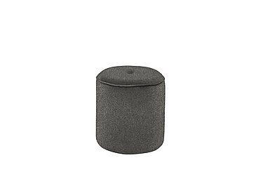 Connection Small Fabric Drum Footstool in Ealing French Grey Dark Feet on Furniture Village