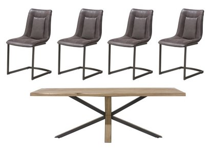 Detroit Starburst Leg Table And 4 Panay Chairs Habufa Furniture