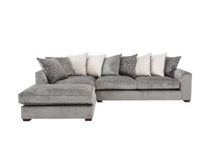 Sandbanks Pillow Back Fabric Corner Chaise Sofa - Furniture ...