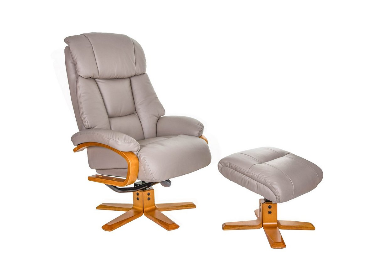 Munich Leather Swivel Recliner Chair with Footstool