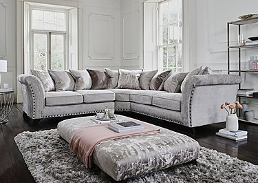 Sensational Holly Large Pillow Back Fabric Corner Sofa With Studs Caraccident5 Cool Chair Designs And Ideas Caraccident5Info