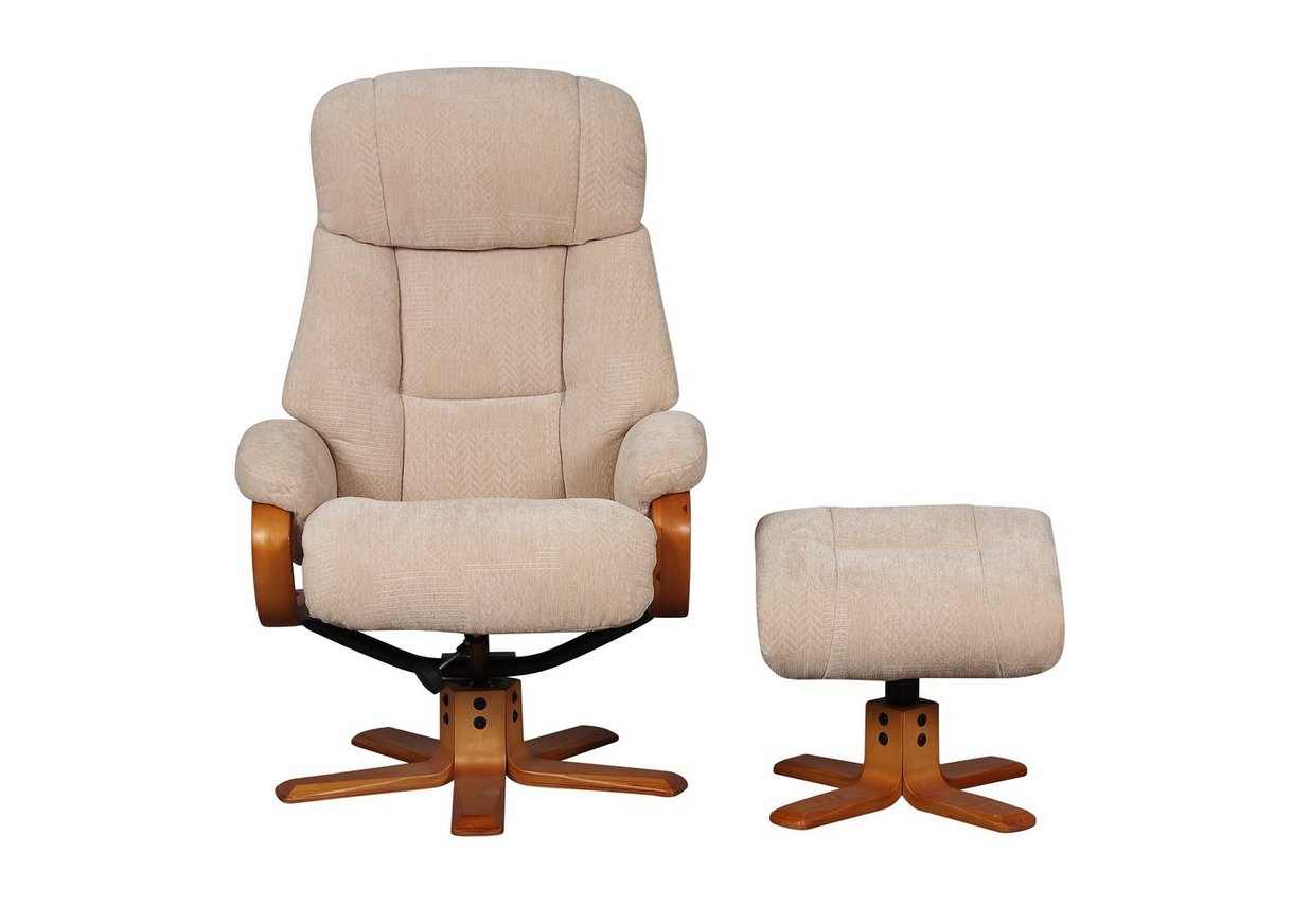 Munich Fabric Swivel Armchair with Footstool - Only One Left