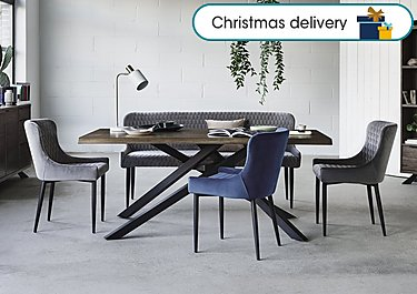 new concept 53664 f447c Sapporo Table, 3 Velvet Chairs and Bench Dining Set