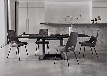 Fine Metallica Extending Dining Table With Graphite Ceramic Top And 4 Chairs Ncnpc Chair Design For Home Ncnpcorg