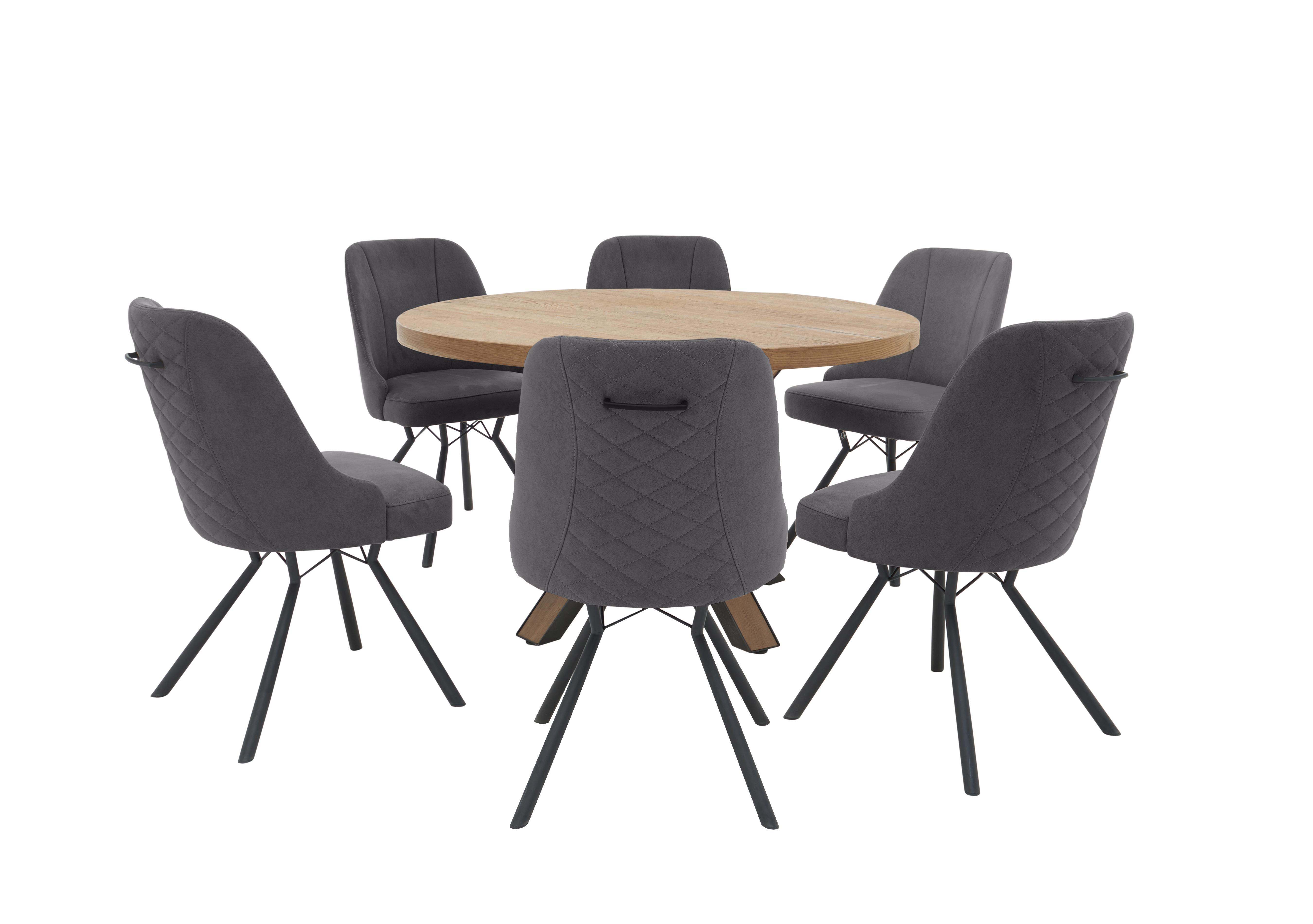 Detroit Round Dining Table And 6 Detroit Dining Chairs Furniture Village