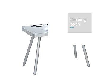 South Street Brooklyn Bridge Computer Desk in White Glass & Alu Metal on Furniture Village