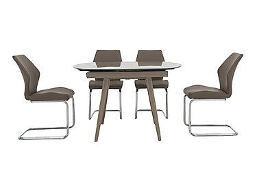 Motion Dining Table and 4 Chairs in Taupe on Furniture Village
