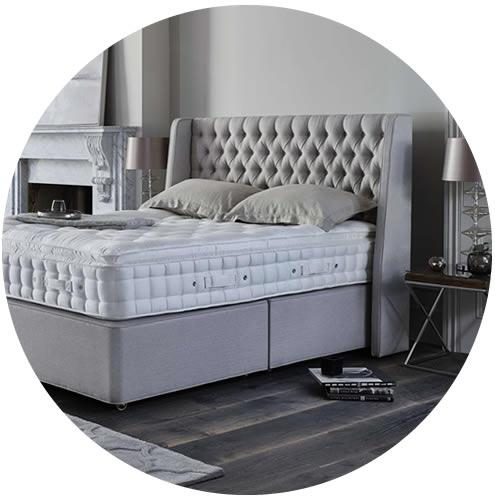 Grey Upholstered Bed
