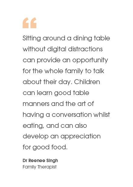 Sitting around a dining table...