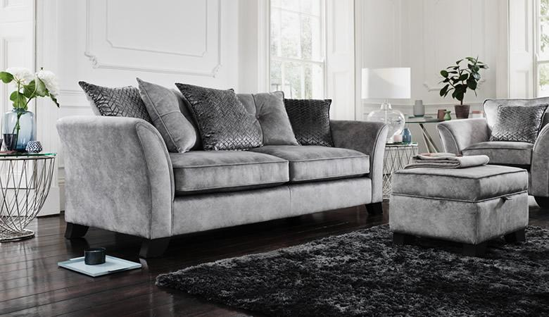Grey glam sofa