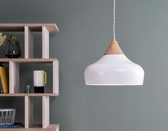 Funky white and copper pendant light