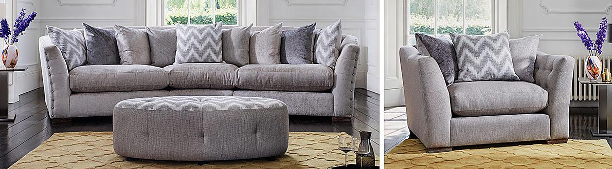 Devine 3 Seater Pillow Back Fabric Sofa Furniture Village