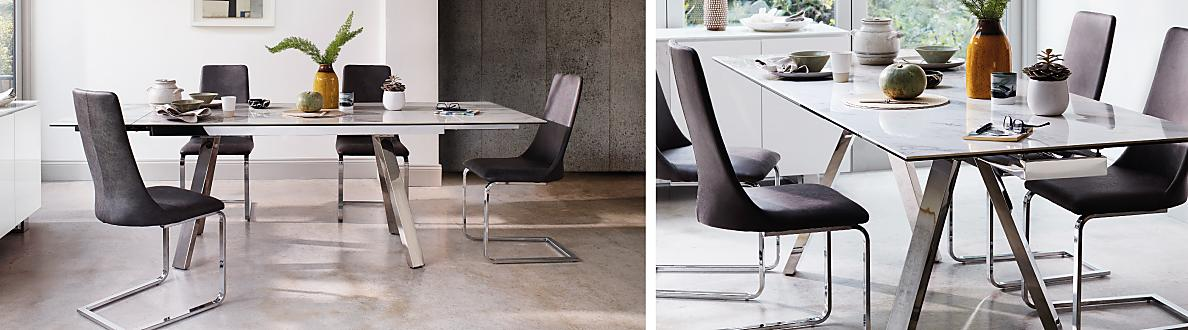 Relax On The Softly Cushioned Faux Leather Upholstered Dining Chairs With Steel Cantilever Legs Ceramic Is Waterproof Heatproof And Scratch Resistant