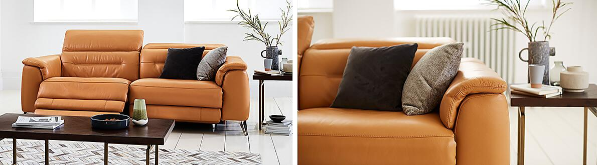 Sanza 3 Seater Leather Power Recliner Sofa With Power